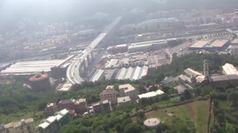 In volo sul nuovo ponte di Genova